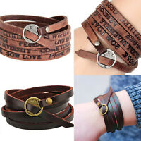 New Fashion Unisex Tribal Women/Men Surfer Multilayer Leather Wrap Cuff Bracelet