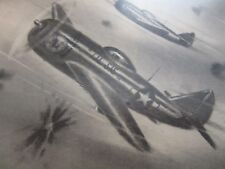 "ORIGINAL - AMLETO FIORE CHARCOAL DRAWING - ""P-47"" FIGHTER - WW2 - WORLD WAR II"