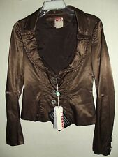 MISS SIXTY Small BROWN SATIN SCOOP NECK JACKET moto renaissance boho