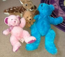 Soft Toys x4 Russ Aries Bear Dudley Dog Proud Blue Bear PIA Baby Dear Fawn