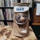 Vtg Beer Mug Cup Stein Artisanal Pottery Studio Art Smiling Mustache Ugly Face
