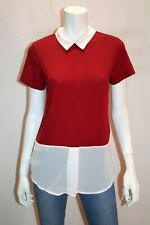 Miss Valley Brand Red White Collar Short Sleeve Top Size S BNWT #SN97