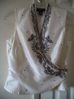 Ann Taylor Ivory Cream w Black Embroidery Wrap Silk Sleeveless Shirt Blouse S 4P