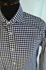 T.M.Lewins blue check flannel shirt with cuffs for links size medium 15 1/2