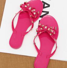 Women's Jelly  Flop Clinch Bolt Summer Flat Rivet Bowknot Crystal Thong Sandals