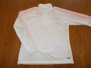 ADIDAS CLIMACOOL 1/2 ZIP LONG SLEEVE WHITE W/PINK STRIPES TOP WOMENS LARGE EXC.
