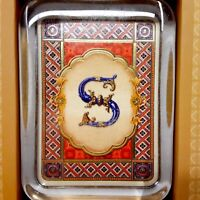 """Punch Studio Letter """"S"""" Monogram Glass Paperweight Gold Foiled & Embossed w/ Box"""