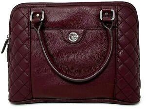 Giani Bernini Quilted Leather Zip Around Satchel Shoulder Bag Wine MSRP $358