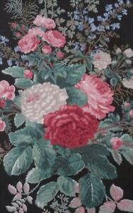 VTG 1981 CLARENCE HOUSE WALLPAPER Black Floral NOAILLES 3 Available HANDPRINT