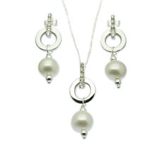 Pearl Pendant Necklace and Drop Earring Set Sterling Silver Faux Diamond Inlay