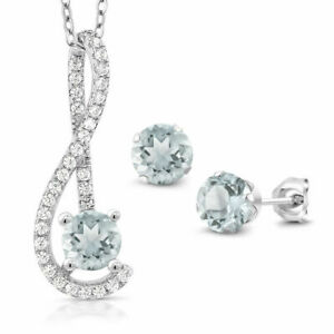 2 Ct Round Aquamarine & Diamond Pendant Earring Jewelry Set 10K White Gold Over