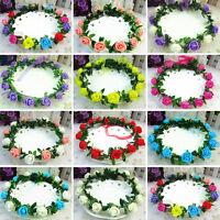 Rose Flower Crown Festival Headband Wedding Floral Garland Hairband Decoration