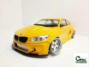 RC 1/10 BMW M2 F22 TURBO CUSTOM PAINTED BODY Shell With Fonctionnal Led Lights