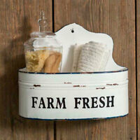 Farm House new Farm Fresh new Wall Caddy in White Tin