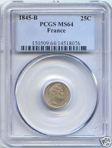 LOUIS PHILIPPE I (1830-1848) 25 CENT 1845 B ROUEN PCGS MS64