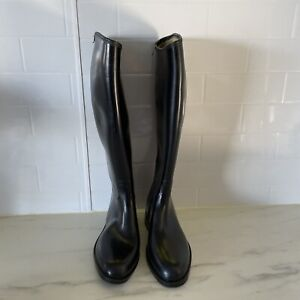 AIGLE Made in France Black knee high Rubber Horse Riding Boot Aigle size EU 38