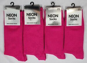 4 Pairs Mens Bright Neon Socks Fuchsia Pink Mid Calf Sock Dress Sock Size 6-11