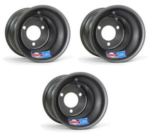 """Honda ATC 70 DWT Black Aluminum Blue Label Front and Rear Wheels Rims 8"""" 8X6"""