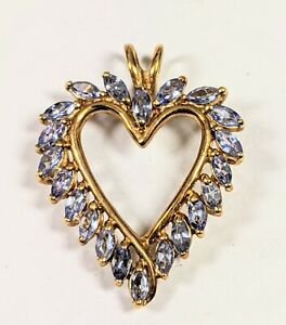 🎄CHRISTMAS SALE🎄 HEART TANZANITE 10K YELLOW GOLD PENDANT 3.3 GRAMS (NOT SCRAP)