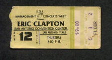 Original 1979 Eric Clapton Muddy Waters Concert Ticket stub San Antonio Backless