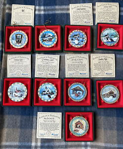 Rare Lot of 9 Anna Perenna Art Ornaments P. Buckley Moss Holly Snow Star Bridge