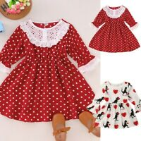 1-5Y Toddler Baby Kids Girls Valentine's Day Print Lace Princess Dress Clothes