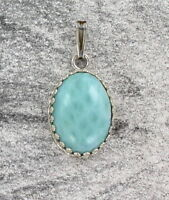 Larimar Gemstone Pendant Necklace in Sterling Silver Setting with Chain