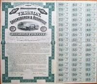 Vernon, Greensburgh & Rushville Railroad Co. 1880 Bond Certificate - Indiana IN