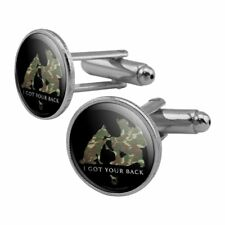 Got Your Back Soldier Shepherd Camo Round Cufflink Set Silver Color