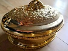 Restaurant Large Golden-plated chinese dragon serving plate stand with lid sizeL