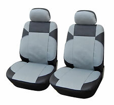 2 Front Car Seat Covers & Steering Wheel Cover for Dodge 6153 Black/Gray