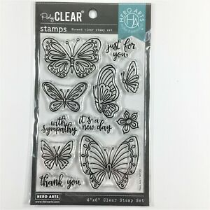 Hero Arts New Day Butterflies Clear Stamp Set Butterfly Flower Phrases Sayings