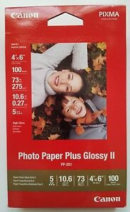 """Brand New Canon Photo Paper Plus Glossy II PP-201, 4"""" x 6"""", 100 Sheets, 2311B023"""