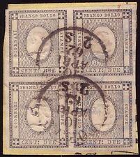 SARDEGNA 1862 - 2 cent. n. 20 STAMPATI BLOCCO DI 4 Certificato FERRARIO € 2.400