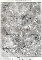 Cartina: Agrigento,Porto Empedocle e Maccalube.Stampa Antica + Passepartout.1876