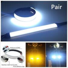 2x Universal Motorcycle Fork Turn Signal Light Strips Strobe White LED Indicator