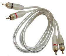 Câble cordon RCA phono audio mâle-mâle  1m 1 mètre blanc ampli subwoofer
