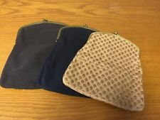 Lot 3 Vintage 1950's Mel-Ton Melton Fold Over Clutch Purse Bags Blue Black Brown