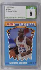 1990-91 Fleer Michael Jordan #5 All Star Sticker Chicago Bulls CSG 9 Mint