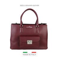 Handtasche echt Leder von Made in Italia Style: Cristiana, Damentasche Bordo Neu