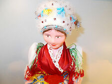 "Traditional Vintage 70's 12.5"" tall Hungarian Doll Hand Painted w/Stand and case"