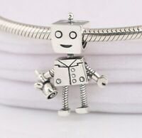 925 Sterling Silver Rob Bot Charm With Flower Fit Bracelet