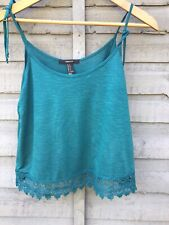 FOREVER 21 TEAL JERSEY AND LACE CAMISOLE TOP.TIE STRAPS SIZE SM.(UK 8-10) BNWT.