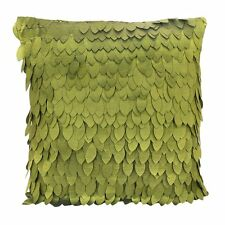 1 x Leaf-Pattern Satin Pillow Case 43 x 43cm--Olive Green AD