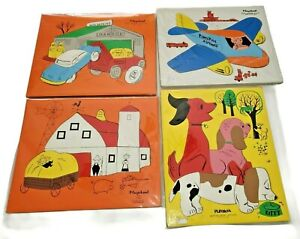 Lot of 4 Vintage Playskool Early Learning Center Wooden Puzzles