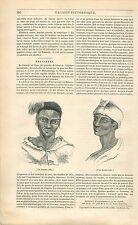 Portrait de Cafres/Kaffir Homme Femme Afrique du Sud GRAVURE ANTIQUE PRINT 1838
