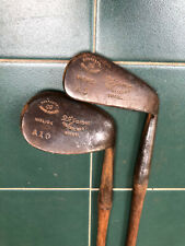 Hickory Golf Clubs FH Ayres Irons X2 Large Round Head Niblick And A Mashie