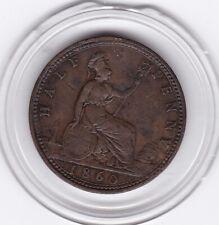 1860  Queen  Victoria   Half  Penny  Bronze  Coin