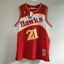 New Men's Adidas Atlanta Hawks Jersey 52 #21 Wilkins Red Throwback Mitchell Ness