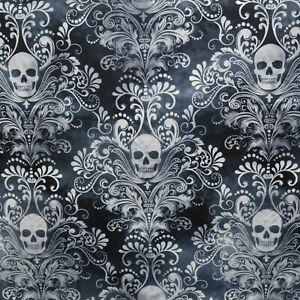 Totenkopf Stoffe Skulls Damask Gothic Halloween Patchworkstoffe Totenköpfe Deko